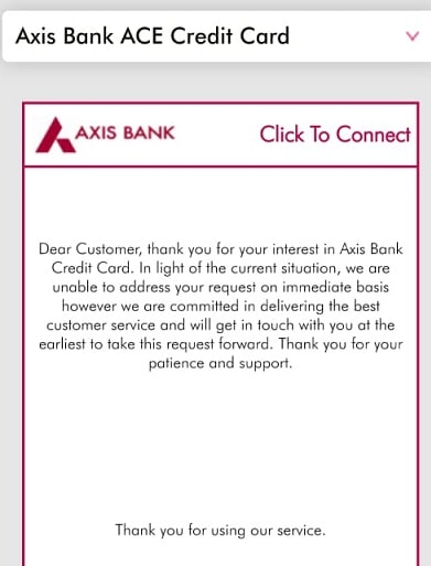 Axis Bank ACE Credit Card Application